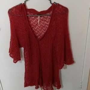 Free People red crochet blouse